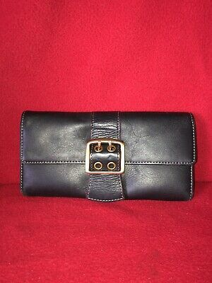 RARE Franklin Covey Black Buckle Trifold Organizer Wallet