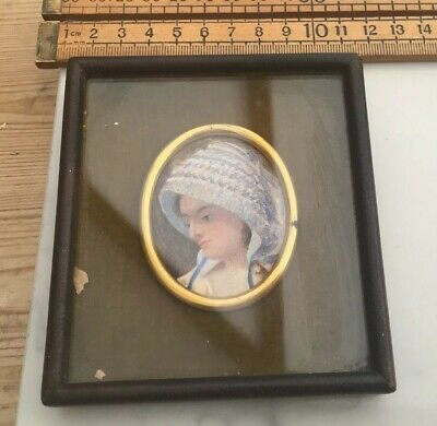 An Antique Hand Painted Picture Of Lady, Framed, Small Antique Portrait