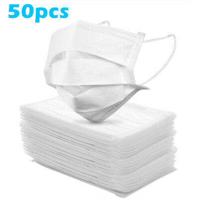 UK Fast Shipping 50PCS 3-Ply Face Protection Medical-White
