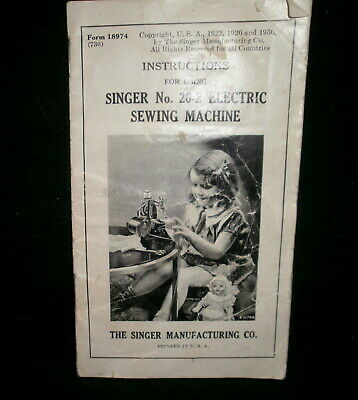 Singer No.20-2 Electric Sewing Machine Instruction book / manual rare edition