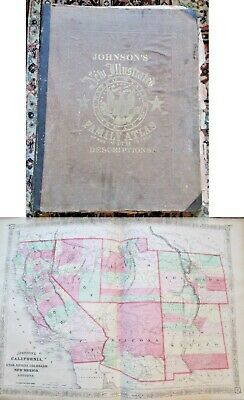 Complete 1867 Johnson's Family Atlas Of The World W/Hand Colored Maps-Most Usa
