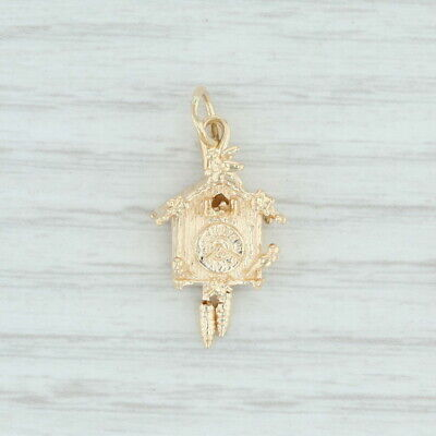 Cuckoo Clock Charm 14k Yellow Gold Birds Flowers Moving Parts