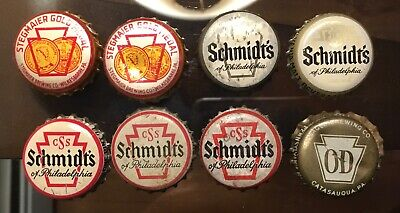 8 Old PA Beer Bottle Cone Top Can Caps Crowns Schmidt's Old Dutch Stegmaier