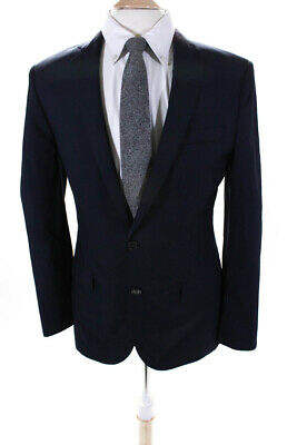 J Crew Mens Two Button Up Wool Blazer Suit Jacket Navy Blue Size 38R