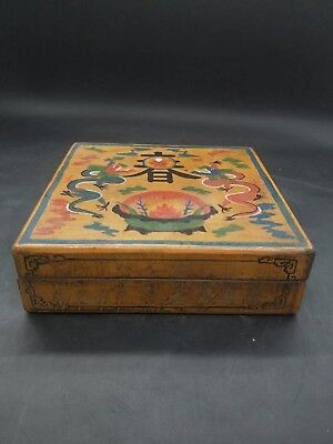 Chinese Antique Wooden painted double dragon jewelry box Qianlong Year