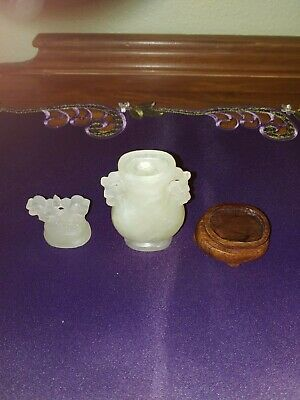 Three piece Antique Chinese Jade Hand-Carved Snuff Bottle