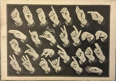 Early 20th Century Vintage American Sign Language ASL Chart