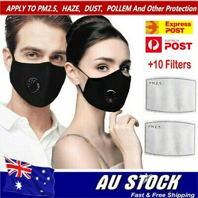 Washable Anti Air Pollution Face Mouth Mask Respirator & 2 Filters P2 Adjustable