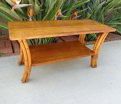 Vtg Curved Legs 2 Tier Rattan Coffee Side Table Mahogany Top~Needs TLC~OLD
