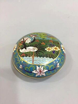 Chinese Antique Exquisite cloisonne painted crane Cosmetic case Powder box