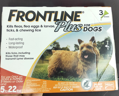 FRONTLINE Plus for Small Dogs 5-22 lbs Orange Box 3 Month Supply-3 Doses