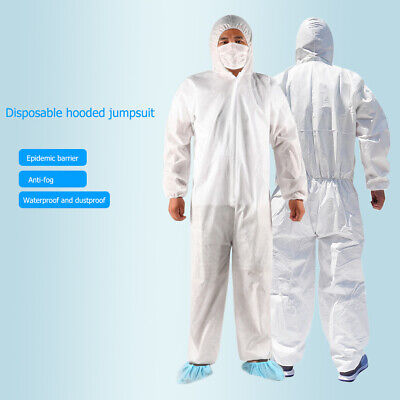 20X Disposable Coveralls Overalls Boilersuit Hood Painters FULL Protective Suit