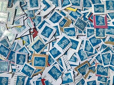 1000 x 2nd Class Blue GB Security Type Stamps Used & Franked on Paper