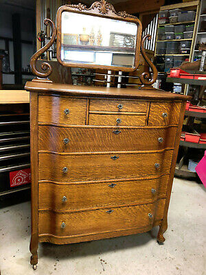 Oak Large Hiboy Dresser w/ Beveled Mirror