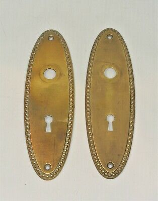 Vintage Brass ESCUTCHEONS Back Plate 7 3/8 inches Set of 2 Key Hole Door Knob
