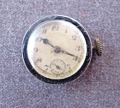 Antique 1920'S Art Deco Chromed Metal Watch For Repair 0R Spare Parts