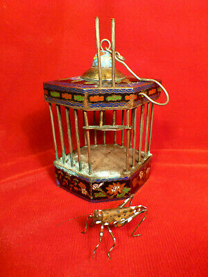 RARE ANTIQUE CHINESE Cloisonné HANGING ENAMEL CRICKET INSECT CAGE