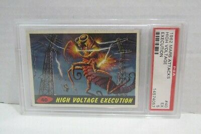 Mars Attacks #40 High Voltage Execution Psa 5 Ex Topps Bubbles Inc. 1962 Card