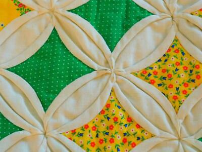 "Vintage Handmade CATHEDRAL WINDOW WALL QUILT Green Yellow Brown 30"" x 40"""