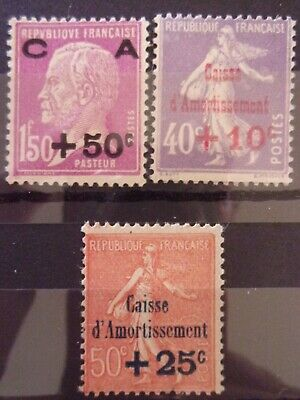 France N° 249 A 251 Caisse Amortissement Neufs Gomme Sans Charniere Ni Trace