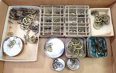 Lot Of Antique Brass Clock Movement Balance Wheels Hairspring Gears Parts Repair
