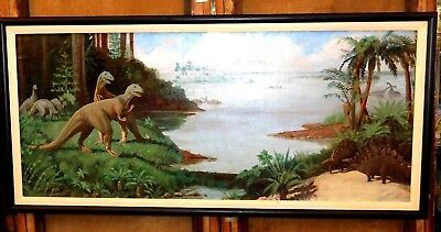 Large Antique Jurassic Park Oil on Canvas Painting by Mystery Artist - Signed