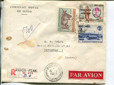 Cambodia reg air mail cover to Sweden 1967