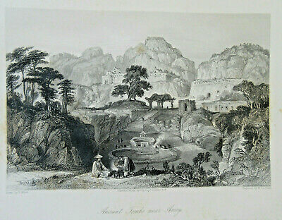 T Allom CHINA AMOY ANCIENT TOMBS antique print steel engraving  c. 1858 detailed