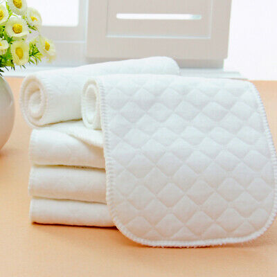 10Pcs Reusable Washable Cloth Diaper Nappy Insert Liner Cotton 3 Layers Diapers