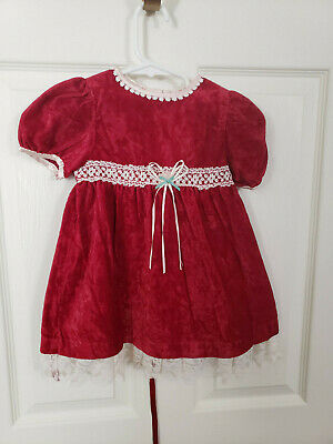 NWOT Bow Age Red & Lace Girls Dress (Sz. 24 Months)