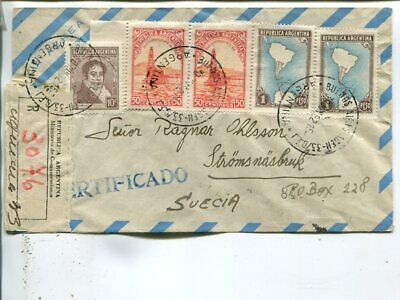 Argentina reg air mail cover to Sweden 1952