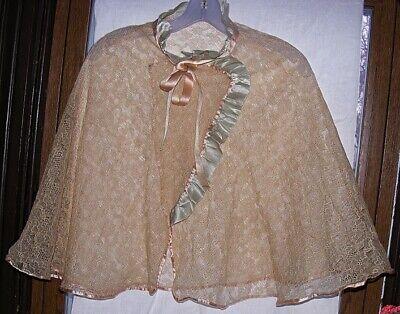 1940's Silky Peach & Blue Rayon Lace Cape Bed Jacket Nightie Top PInup Boudoir