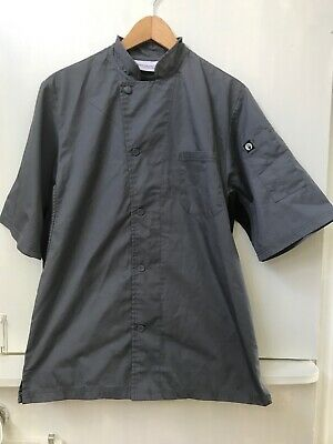 Chef Works Mens Valais Short Sleeve Chef Coat Gray/Black Size S Small