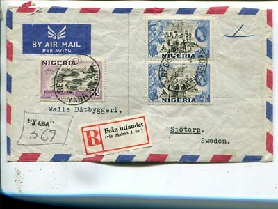 Nigeria reg air mail cover to Sweden, Yaba 1954