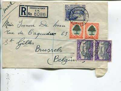 South Africa reg air mail cover to Belgium 1947