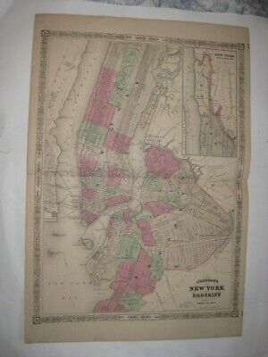 Huge Antique 1866 New York City Brooklyn Johnson Handcolored Dated Map Superb Nr