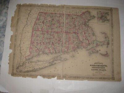 Huge Antique 1866 Massachusetts Connecticut Rhode Island Johnson Map Boston Rare