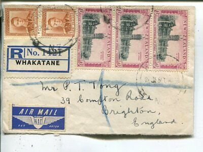 New Zealand reg air mail cover to England 1950
