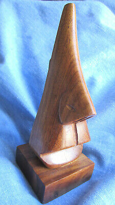 Mid Century Danish Modern Teak Wood Carved Mouth Nose Sculpture Tiki Vintage