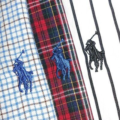 LOT OF THREE (3): Men's XL Polo Ralph Lauren CUSTOM FIT Button-Front Shirts PRL