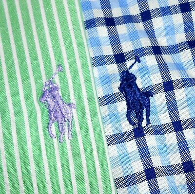 LOT OF TWO (2) Men's Small Polo Ralph Lauren Button-Front Long Sleeve Shirts PRL