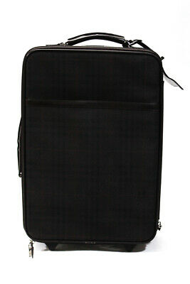 Burberry London Plaid Leather Trim Textured Rolling Carry On Luggage Brown