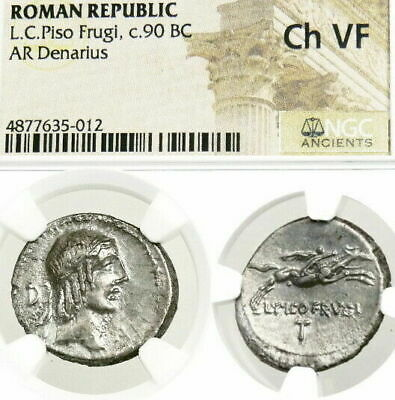 APOLLO Naked Youth on Horse NGC Choice VF Ancient Roman Silver Denarius Coin