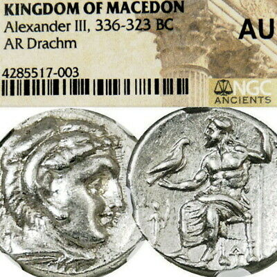 ALEXANDER the Great NGC AU LIFETIME ISSUE RR! Herakles Ancient Greek Silver Coin
