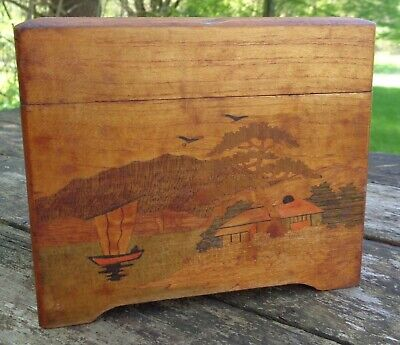 vintage ORIENTAL JAPANESE Painted ARTWORK File Card size BOX Lightweight WOOD