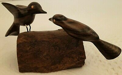 Vintage 2 Hand Carved Layered Hardwood Love Birds on Wooden Base EUC