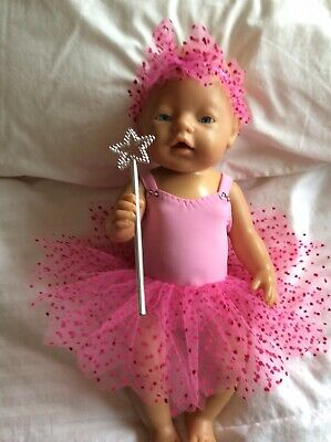 """Dolls Clothes To Fit 17"""" Baby Born Doll - Fairy : Pink : Pink Dots"""
