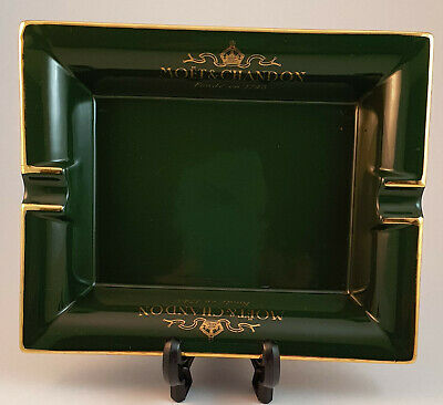 Vintage Moet and Chandon Ashtray Green and Gold Advertising Piece