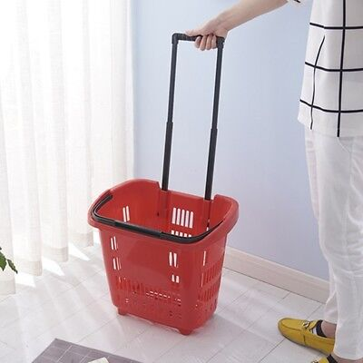 1X Plastic Red Rolling Shopping Baskets with 2 wheels