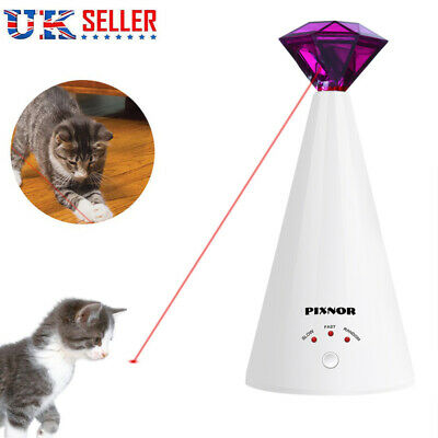 Interactive Pet Cat Kitty Automatic Rotating Laser Chase Toy Adjustable Speed